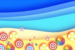 Top view Parasols - umbrella in paper cut style. Seascape. Origami sea, palm, beach with lifebuoy. Summertime. Beach Royalty Free Stock Photo