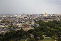 Top view of a Paris park and the city's neighborhoods Royalty Free Stock Photography