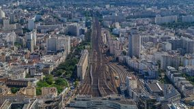 Top view of Paris skyline from observation deck of Montparnasse tower timelapse. Main landmarks of european megapolis stock footage