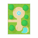 Top view of park with fountain icon, cartoon style Stock Photography