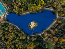 Top view of Park many different trees. Minsk, Republic Belarus royalty free stock photography
