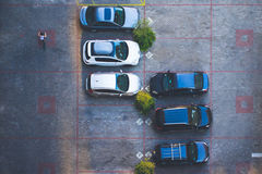 Top view of a parking. A view from above of a parking spaces stock photos