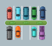 Top view parking cars on asphalt in urban map. Automobiles in the garage. Vector pictures. Car on parking illustration Royalty Free Stock Photo
