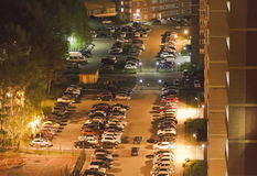 Top view of the Parking of cars near high-rise buildings.Night.Chelyabinsk. Stock Images