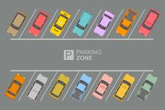 Top View of Parking zone. Top view of a city parking lot with a set of different cars. Parking zone. vector illustration in flat design stock illustration