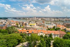 Top view on a Parliament and Buda and Pest banks from Fisherman`. View from Fisherman`s Bastion, located at the heart of Buda`s Castle District, on a Parliament stock images