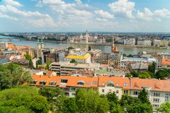 Top view on a Parliament and Buda and Pest banks from Fisherman`. View from Fisherman`s Bastion, located at the heart of Buda`s Castle District, on a Parliament stock image