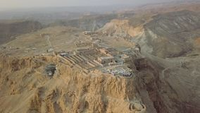 Top view, part of Masada remains and fortress. Aerial shot stock video