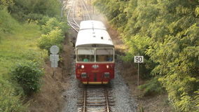 Top view of a passing passenger train stock video