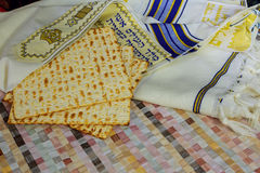 Top view of passover background. matzoh jewish holiday bread Stock Photography