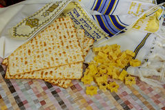 Top view of passover background. matzoh jewish holiday bread Stock Photos