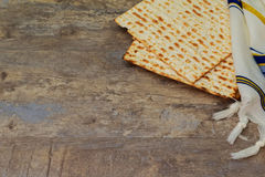 Top view of passover background. matzoh jewish holiday bread Royalty Free Stock Photography