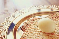 Top view of passover background. matzoh (jewish passover bread) over wooden background Stock Photo