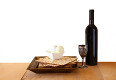 Top view of passover background. matzoh (jewish passover bread) and traditional sedder plate over wooden background Royalty Free Stock Images
