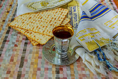 Top view of passover background. wine and matzoh jewish holiday bread Royalty Free Stock Images
