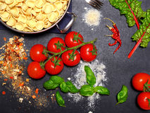 Top view of pasta ingredients. Photo shows pasta ingredients like Orecchiette Stock Photo