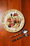 Top view of a pasta plate Royalty Free Stock Photos