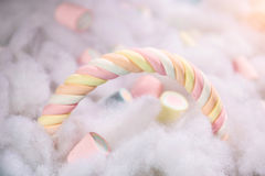 Top view of pastel colored marshmallow on a cotton background. M Stock Photos