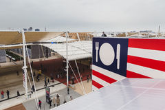 Top view of pavilions at Expo 2015 in Milan, Italy Stock Photos