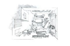 Top view pencil drawing of living room in black and white Royalty Free Stock Photo