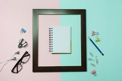 Top view of pencil with other school supplies and notebook on co Stock Photography