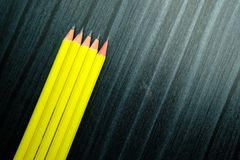 Top view of pensil on wooden background Stock Photography