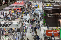 Top view of people and booths at EICMA 2014 in Milan, Italy Royalty Free Stock Photo