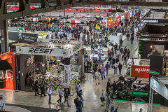 Top view of people and booths at EICMA 2014 in Milan, Italy Stock Image