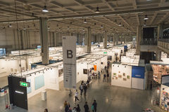 Top view of people and booths at Miart 2015 in Milan, Italy Stock Images