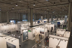 Top view of people and booths at Miart 2015 in Milan, Italy Stock Image
