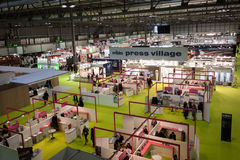 Top view of people and booths at Mido 2014 in Milan, Italy Royalty Free Stock Image