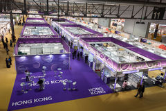 Top view of people and booths at Mido 2014 in Milan, Italy Stock Images