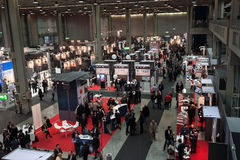 Top view of people and booths at Smau exhibition in Milan, Italy Royalty Free Stock Images