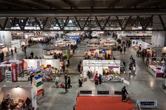 Top view of people and booths at Weekend Donna 2013 in Milan, Italy Royalty Free Stock Photo