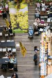Top view of people eating lunch at the shopping center restaurants stock photo
