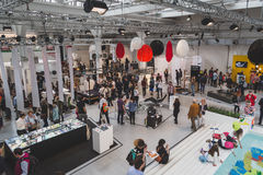 Top view of people and exhibitors at Fuorisalone during Milan De Stock Image