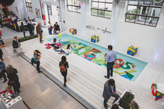 Top view of people and exhibitors at Fuorisalone during Milan De Royalty Free Stock Photos