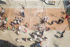 Top view of people at Expo 2015 in Milan, Italy Royalty Free Stock Photos