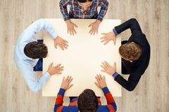 Top view of people with hands on table Royalty Free Stock Photography