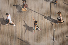 Top view of people outside USA pavilion at Expo 2015 in Milan, I Stock Photo