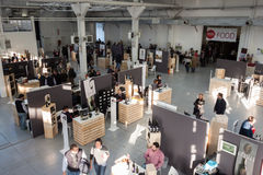 Top view of people and stalls at Golosaria 2013 in Milan, Italy Stock Photos