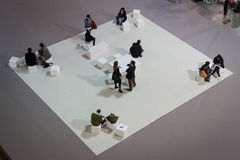 Top view of people visiting HOMI, home international show in Milan, Italy Stock Photography