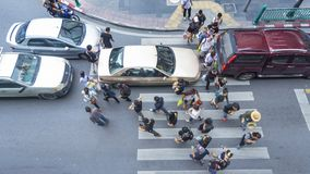 Top view of people are walking across road Royalty Free Stock Photos