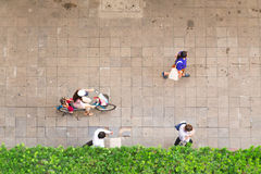 Top view of people walking in business area Stock Photos
