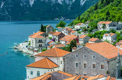 Top view on Perast city and Kotor bay Stock Photo