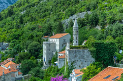 Top view on Perast city and Kotor bay Stock Photography