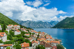 Top view on Perast city and Kotor bay Royalty Free Stock Photo