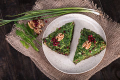 Top View of Persian Mixed herbs frittata with barberry and walnut Kuku and Zereshk stock photography
