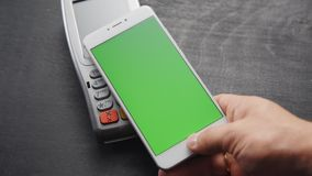 Contactless smartphone payment. stock video footage