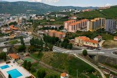 Top view of Peso da Regua city, Portugal. Stock Photography